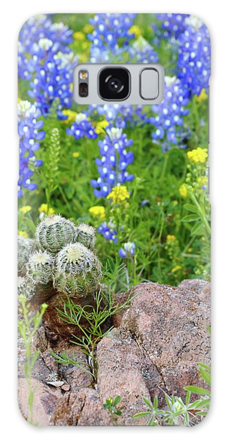 Cactus Galaxy S8 Case featuring the photograph Cactus And Bluebonnets 2am-28694 by Andrew McInnes