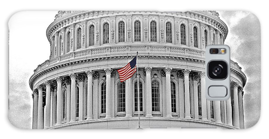 Washington Dc Galaxy S8 Case featuring the photograph Capitol With Flag by Jack Schultz