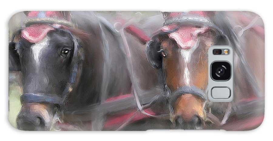 Horse Galaxy Case featuring the painting Carriage Horses Pleasure Pair by Connie Moses