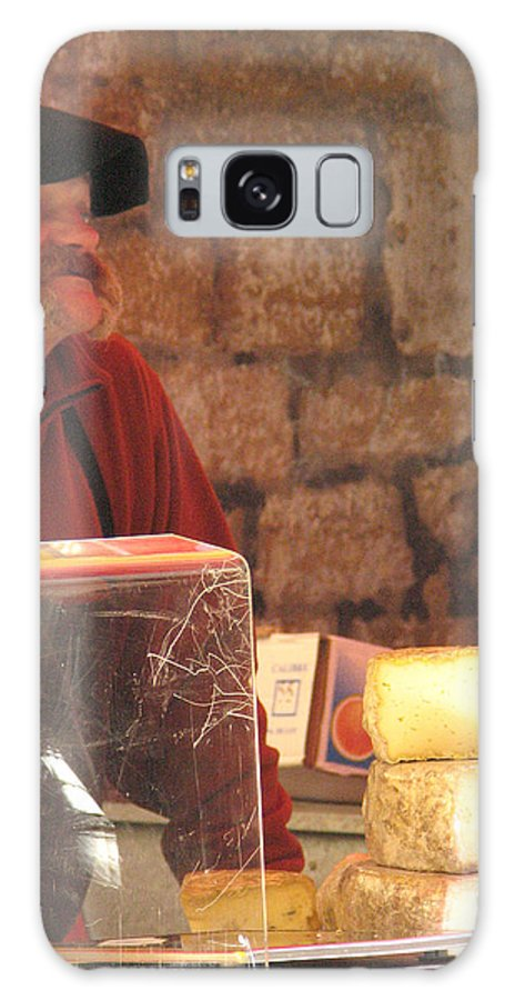 Market Galaxy S8 Case featuring the photograph Cheese Seller At Sarlat Market by Greg Matchick