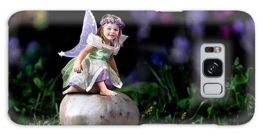 Mushroom Galaxy S8 Case featuring the photograph Child Fairy On Mushroom by Cindy Singleton