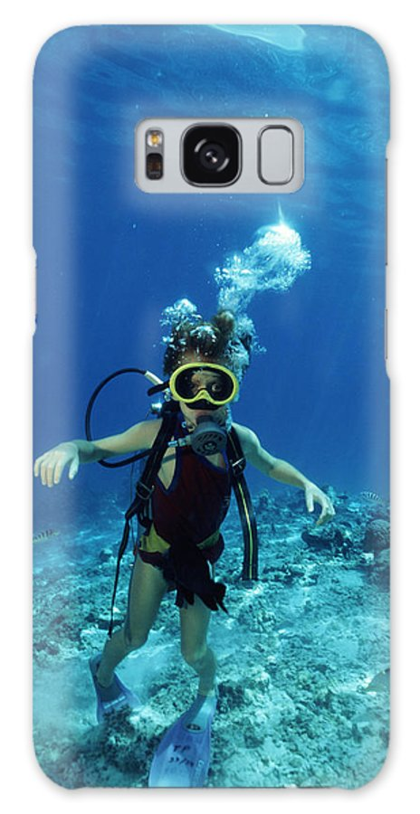 Diver Galaxy S8 Case featuring the photograph Child Scuba Diver by Alexis Rosenfeld