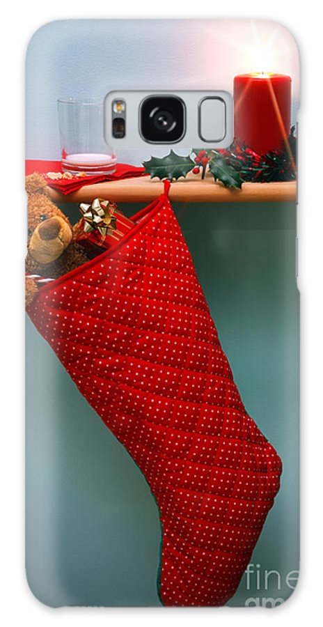 Christmas Galaxy S8 Case featuring the photograph Christmas Stocking Filled With Presents With Empty Milk Glass. by Richard Thomas