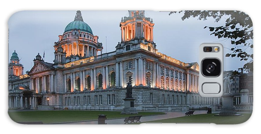 Urban Scene Galaxy S8 Case featuring the photograph City Hall Illuminated Belfast, County by Peter Zoeller