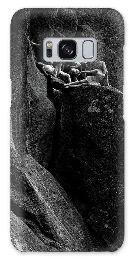 Cliff Galaxy S8 Case featuring the photograph Cliff Dancers Black And White by Scott Sawyer