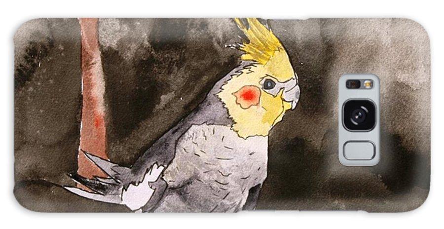 Cockatiel Galaxy Case featuring the painting Cockatiel by Derek Mccrea