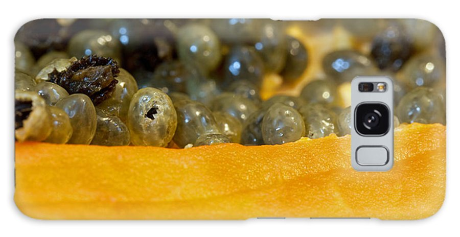 Macro Galaxy S8 Case featuring the photograph Cross Section Of A Cut Papaya With The Fruit And The Seeds by Ashish Agarwal