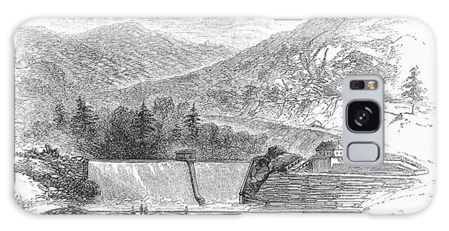 1860 Galaxy S8 Case featuring the photograph Croton Dam, 1860 by Granger