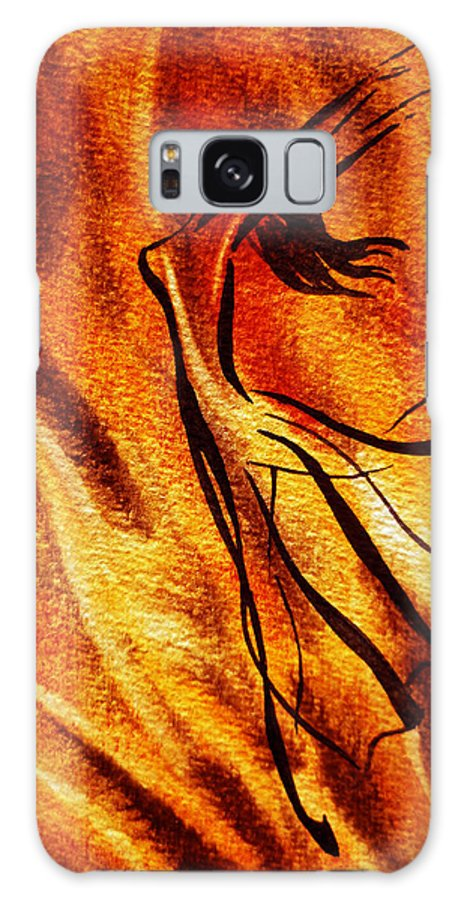 Abstract Galaxy S8 Case featuring the painting Dancing Fire Vi by Irina Sztukowski