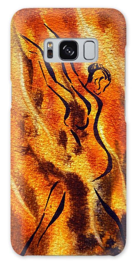 Abstract Galaxy S8 Case featuring the painting Dancing Fire Viii by Irina Sztukowski