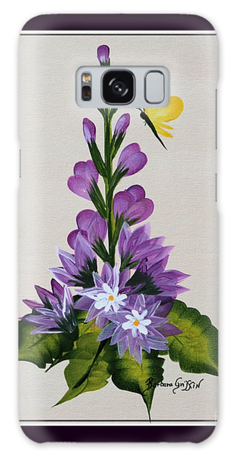Delphenium Galaxy S8 Case featuring the painting Delphenium And Butterfly by Barbara Griffin