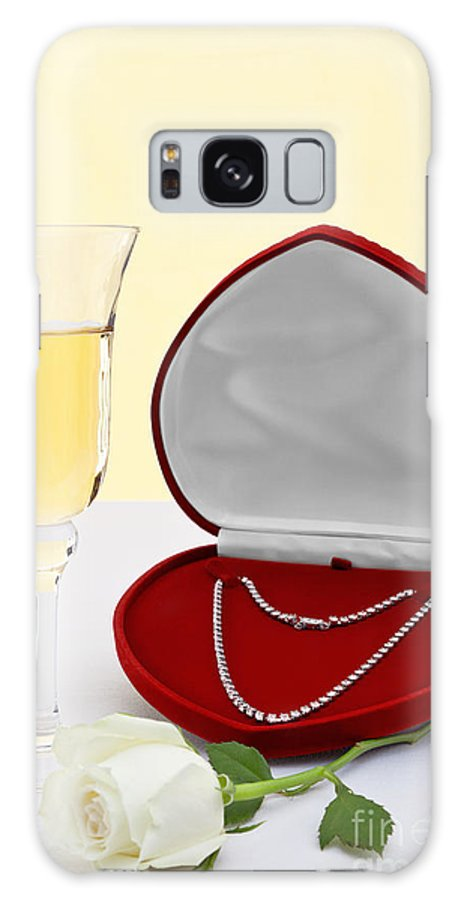 Diamond Galaxy S8 Case featuring the photograph Diamond Necklace With Champagne And White Rose. by Richard Thomas