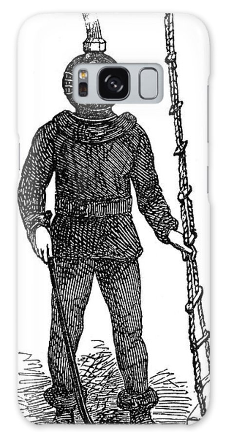 1855 Galaxy S8 Case featuring the photograph Diving Suit, 1855 by Granger