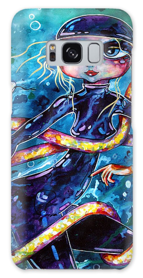 Serpent Galaxy S8 Case featuring the painting Diving With Serpent by Leanne Wilkes