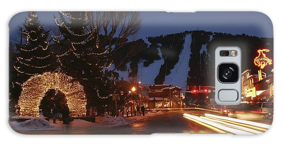 North America Galaxy S8 Case featuring the photograph Downtown Jackson Hole At Night by Jim Webb