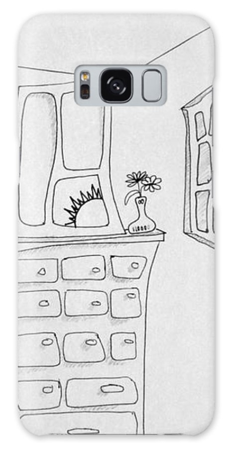 Window Galaxy S8 Case featuring the drawing Dresser And Window by Dennis Casto
