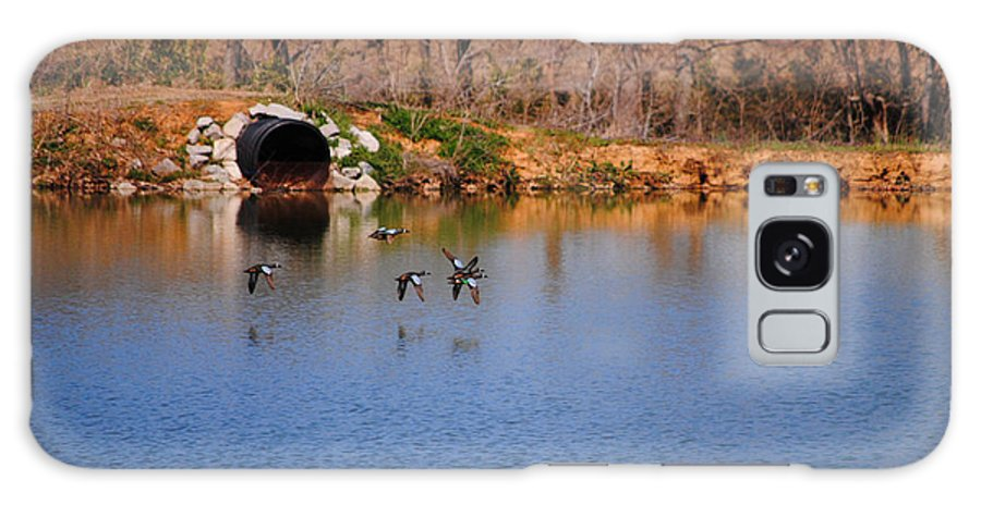 Ducks Galaxy S8 Case featuring the photograph Ducks Flying Over Pond I by Jai Johnson