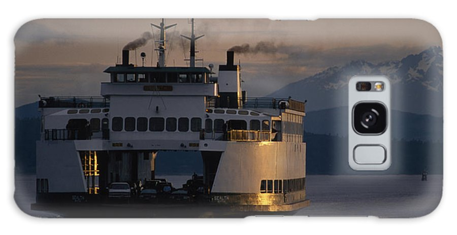 Outdoors Galaxy S8 Case featuring the photograph Early Morning Ferry Leaves Seattle by Phil Schermeister