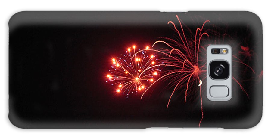 Fireworks Galaxy S8 Case featuring the photograph Fireworks With Moon Fmp by Jim Brage
