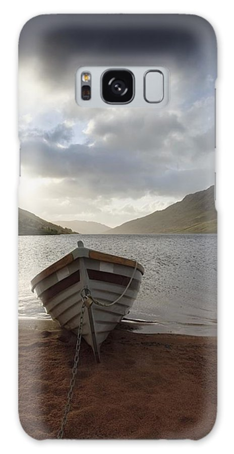 Lake Galaxy S8 Case featuring the photograph Fishing Boat Moored On Lough Nafooey by Peter McCabe