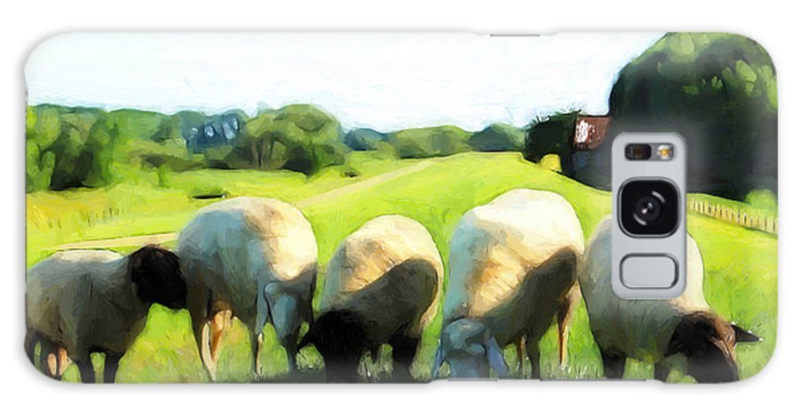 Sheep Dyke Green Grass Tree Trees Old Farm Farmhouse Farmer Farmland Painting Galaxy S8 Case featuring the painting Five Sheep by Steve K