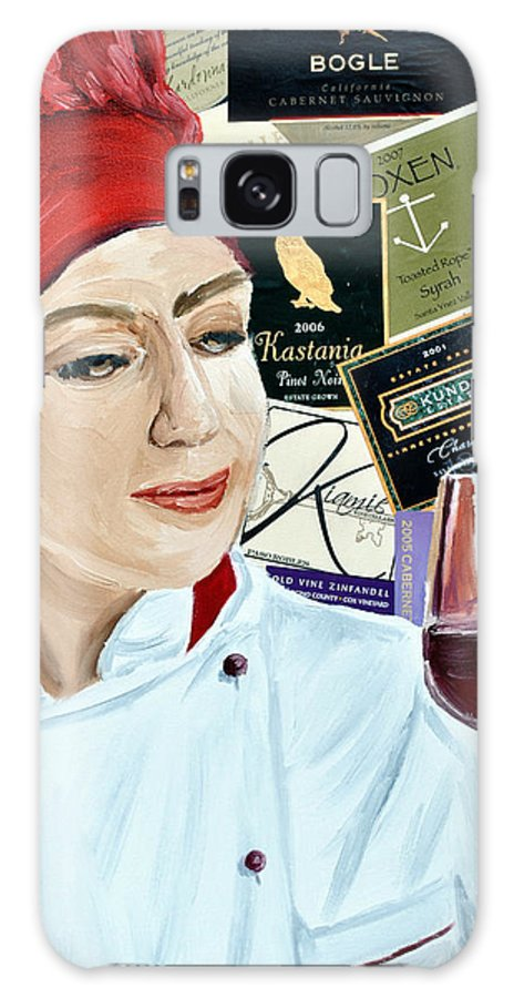 Wine Galaxy S8 Case featuring the painting Flo Enjoys A Glass Of Wine by Michael Lee