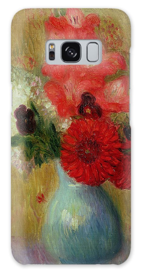 Floral Arrangement In Green Vase (oil On Canvas)still Life; Flowers; Flower; American Impressionist; Ashcan School; The Eight; Still-life Galaxy S8 Case featuring the painting Floral Arrangement In Green Vase by William James Glackens