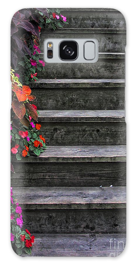 In Focus Galaxy S8 Case featuring the photograph Flowers And Steps by Joanne Coyle
