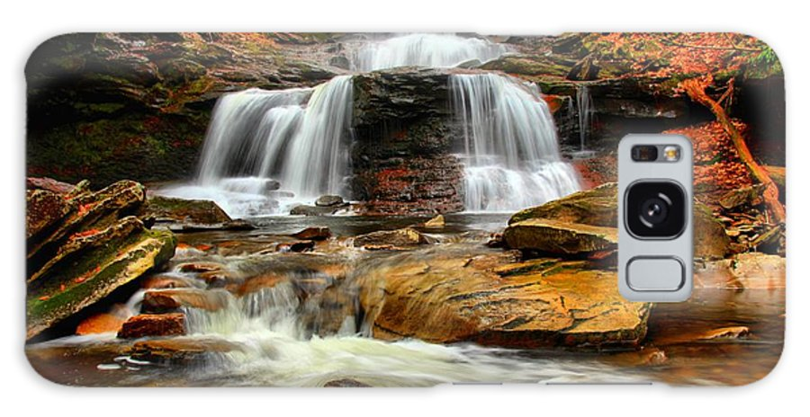 Ricketts Glen Galaxy S8 Case featuring the photograph Flowing Down The Mountain by Adam Jewell