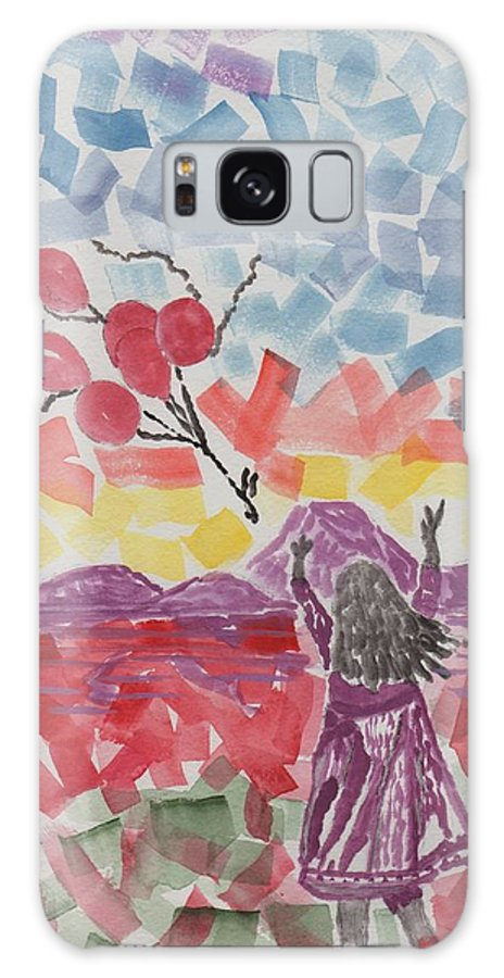 Childerns Artwork Galaxy S8 Case featuring the painting Freedom Girl   by Connie Valasco
