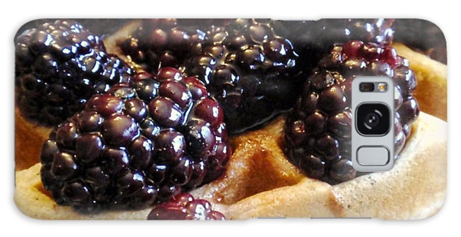 Blackberries Galaxy S8 Case featuring the photograph Fresh Blackberry Waffles by Kathy Clark