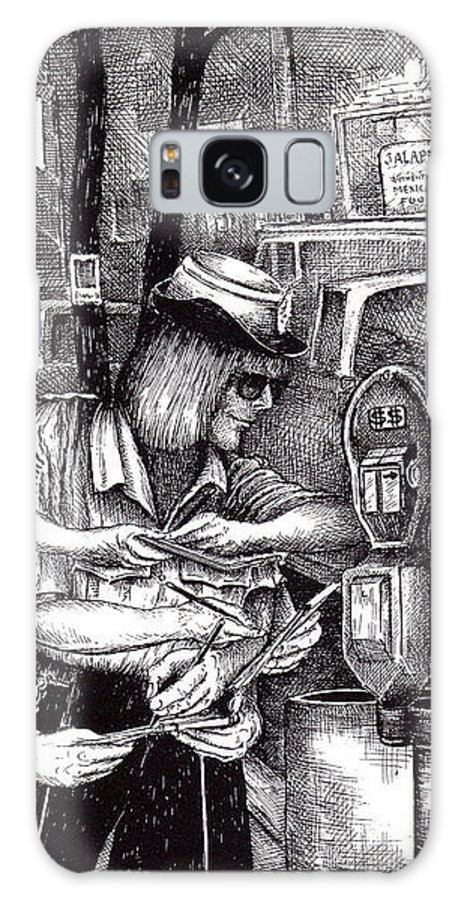 Gloucester Galaxy S8 Case featuring the drawing Gloucester Meter Maid by James Oliver