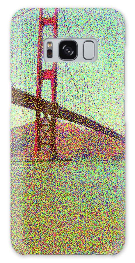 Seurat Galaxy S8 Case featuring the digital art Golden Gate Bridge by Peggy Starks