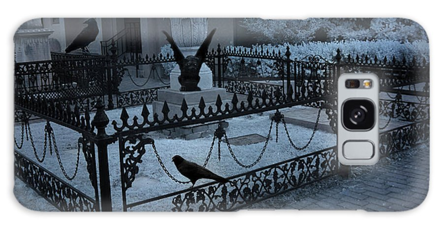 Cemetery Gargoyle Galaxy S8 Case featuring the photograph Gothic Surreal Night Gargoyle And Ravens - Moonlit Cemetery With Gargoyles Ravens by Kathy Fornal