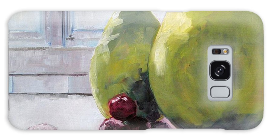 Fruit Paintings Galaxy S8 Case featuring the painting Grapes And Pears by Saundra Lane Galloway