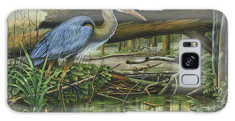 Great Blue Heron Galaxy S8 Case featuring the painting Great Blue Heron by Sandy Williams