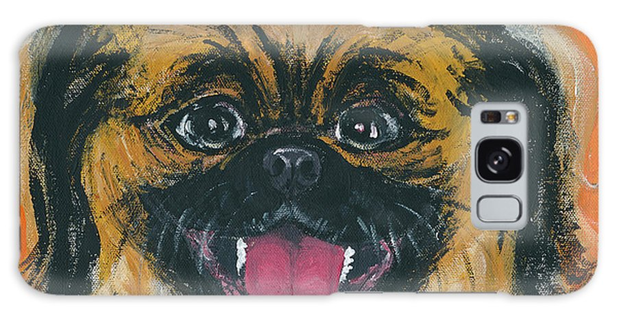 Happy Peke Galaxy S8 Case featuring the painting Happy Face by Ania M Milo