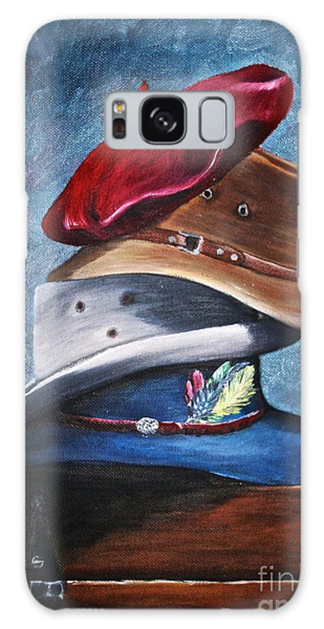 Hats Galaxy S8 Case featuring the painting Hat Stack by Susan Herber