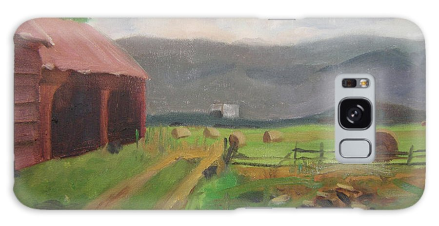 Colorado Galaxy S8 Case featuring the painting Hay Day Farm by Lilibeth Andre