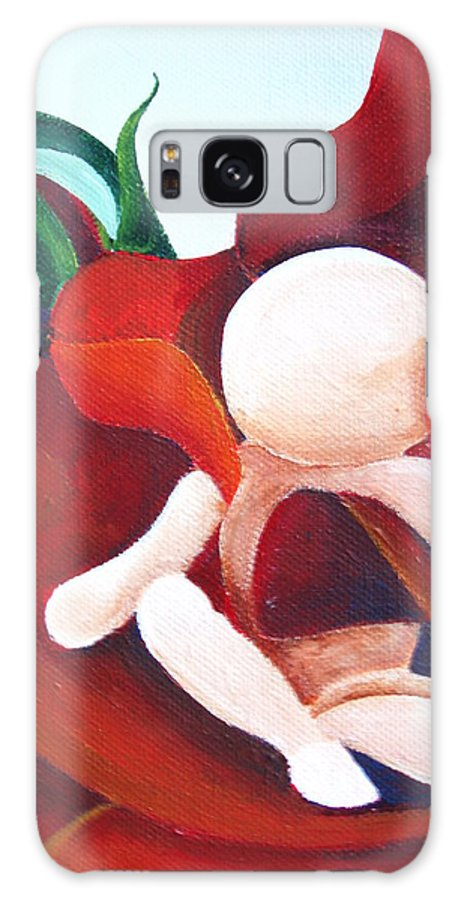 Healing Painting Galaxy S8 Case featuring the painting Healing Painting Baby Sitting In A Rose Detail by Catt Kyriacou