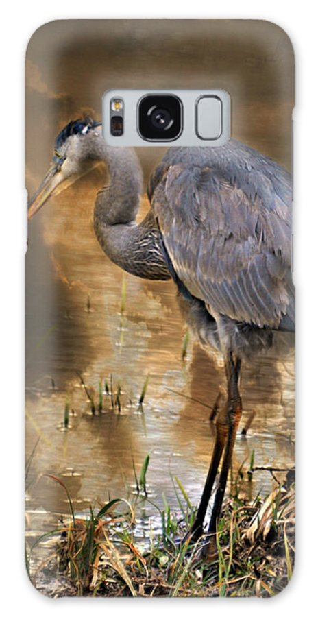 Heron Galaxy S8 Case featuring the photograph Heron Bronze by Marty Koch