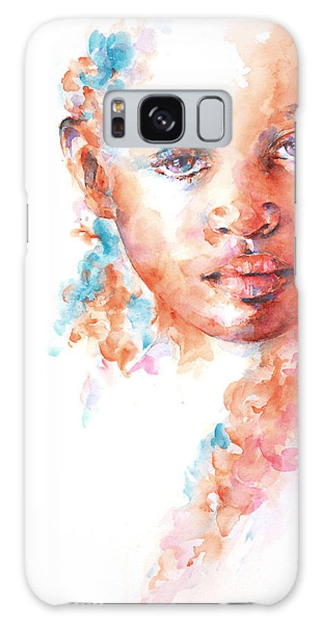 A Portrait Of An African Child Painted In Watercolour As Part Of The Collection Of children Of The World. Galaxy S8 Case featuring the painting Hidden Tears by Stephie Butler