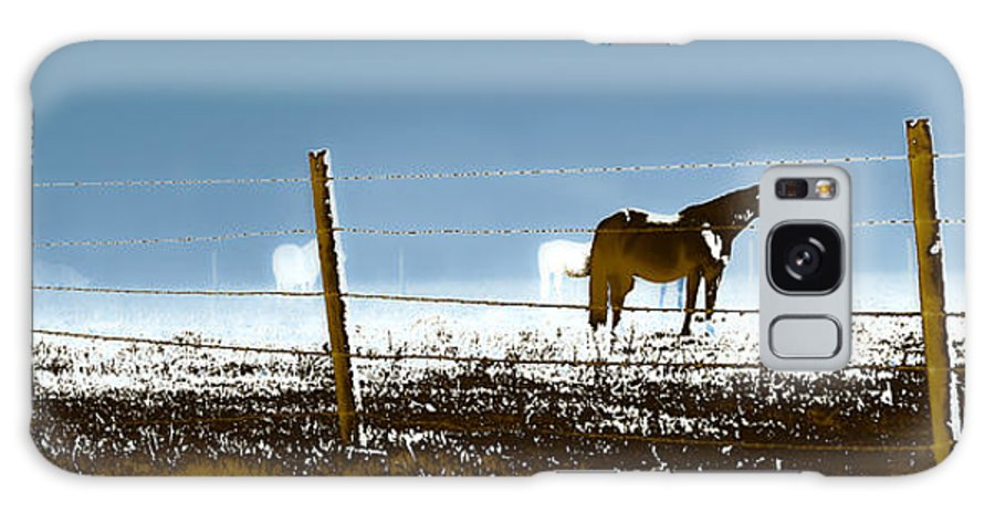 Horses Galaxy S8 Case featuring the photograph Horse Pasture Revdkblue by Paulette B Wright