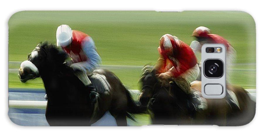 Track Galaxy S8 Case featuring the photograph Horse Racing, Ireland Jockeys Racing by The Irish Image Collection