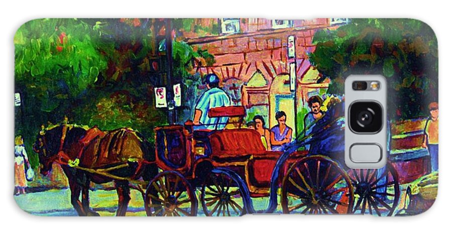 Rue Notre Dame Galaxy S8 Case featuring the painting Horsedrawn Carriage by Carole Spandau