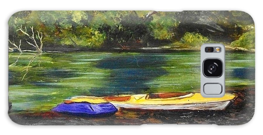 Nature Galaxy Case featuring the painting Kayaks on the Little Sandy by Tami Booher