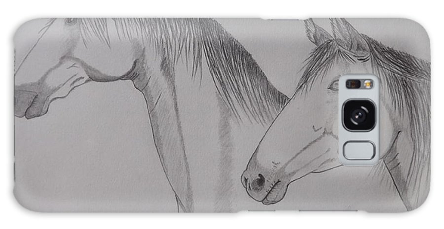 Horse Galaxy S8 Case featuring the drawing Keiger Mustangs by Gerald Strine
