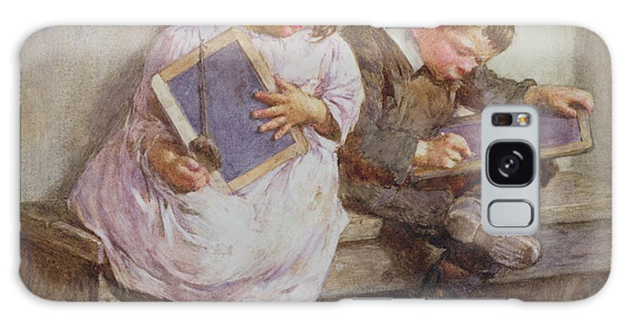 Children; Pupil; Student; Slate; Writing Tablet; Detention; Naughty Galaxy S8 Case featuring the painting Kept In by John Henry Henshall