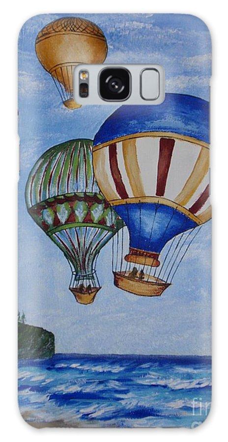 Painting Galaxy S8 Case featuring the painting Kid's Art- Balloon Ride by Tatjana Popovska