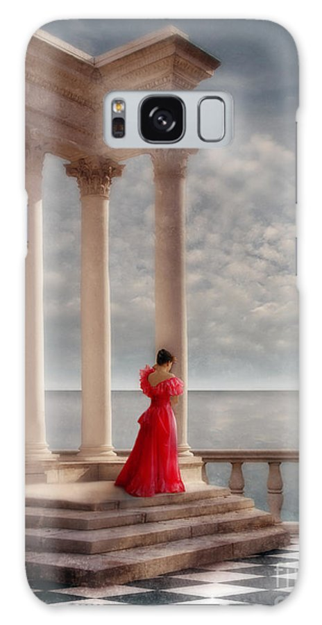 Woman Galaxy S8 Case featuring the photograph Lady In Red Gown By The Sea by Jill Battaglia